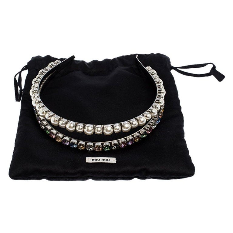 Miu Miu Faux Pearl and Crystal Embellished Silver Tone Head Band For Sale 3
