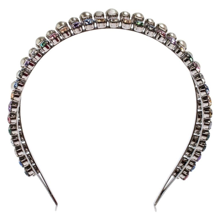Miu Miu Faux Pearl and Crystal Embellished Silver Tone Head Band For Sale