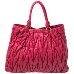 Miu Miu Fuchsia Pink Matelasse Leather Tote