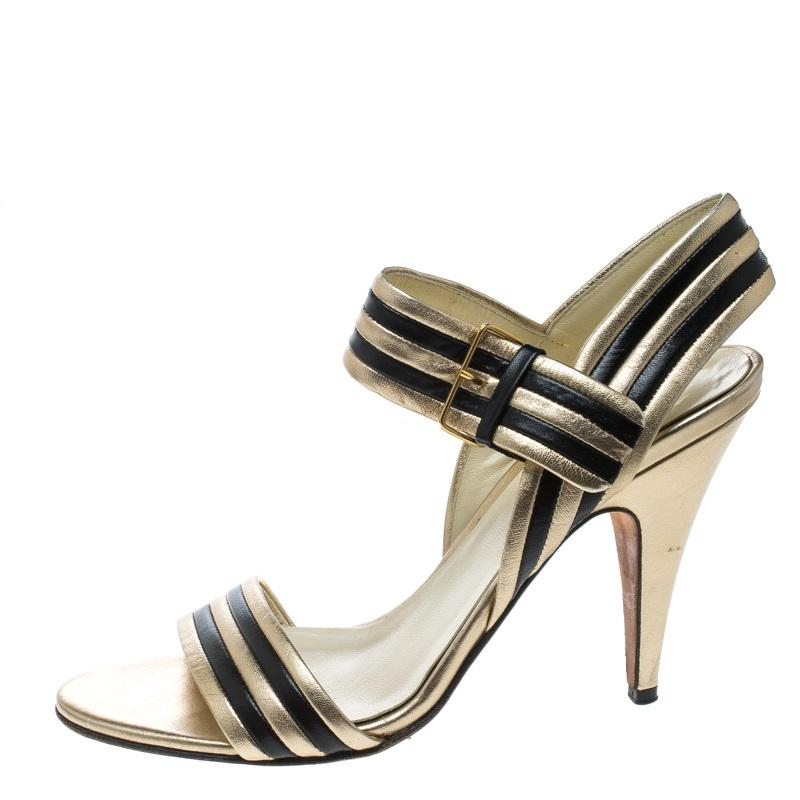 Strappy Sandals 5 37 Miu Goldblack Leather Size 1JulKc3TF