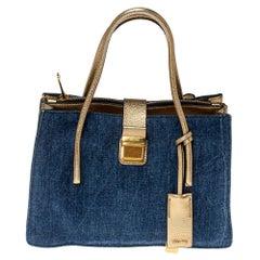 Miu Miu Gold/Blue Madras Leather and Denim Pushlock Tote