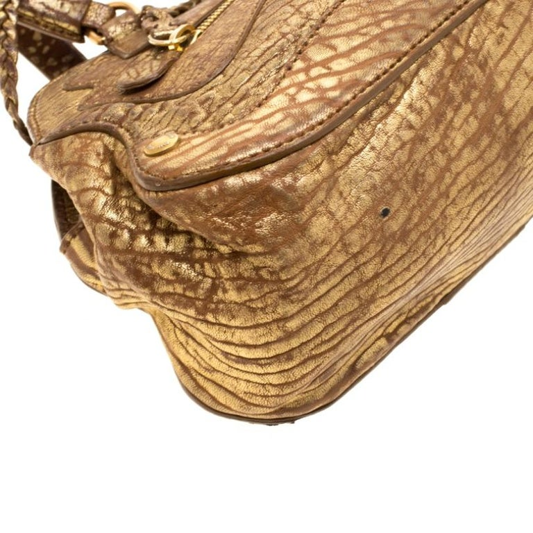 Women's Miu Miu Gold Metallic Distressed Leather Shoulder Bag For Sale