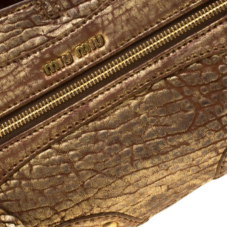 Miu Miu Gold Metallic Distressed Leather Shoulder Bag For Sale 1