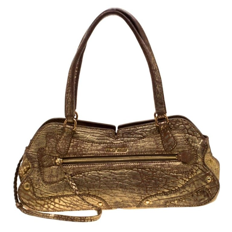 Miu Miu Gold Metallic Distressed Leather Shoulder Bag For Sale