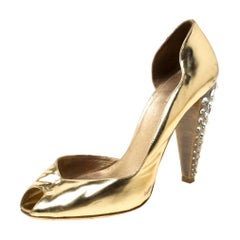 Miu Miu Gold Metallic Leather Crystal Embellished Heel Sandals Size 38.5
