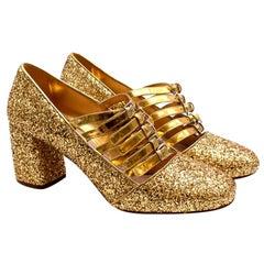 Miu Miu Golden Glitter Leather Strappy Pumps - Size 39.5