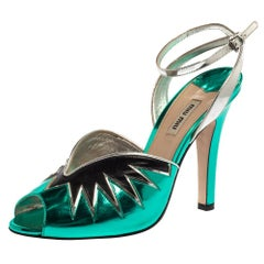 Miu Miu Green/Black Leather Ankle Strap Peep-Toe Sandals Size 40
