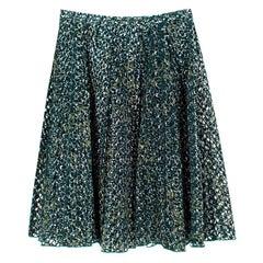 Miu Miu Green Lace Cut-out Pleated Skirt - Size US 6