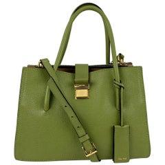 Miu Miu Green Madras Leather Tote Shoulder Bag R1104C