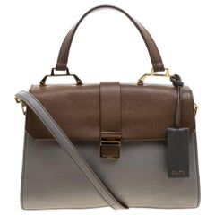 Miu Miu Grey/Brown Madras Leather Shoulder Bag