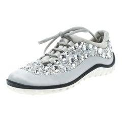 Miu Miu Grey Embellished Satin and Mesh Astro Sneakers Size 38