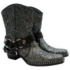 Miu Miu Grey Glitter 40 Cowboy Boots - Size 41