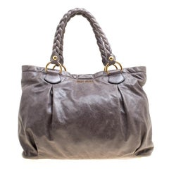 Miu Miu Grey Leather Braided Handle Tote