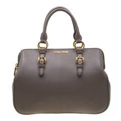 Miu Miu Grey Leather Madras Bowling Bag