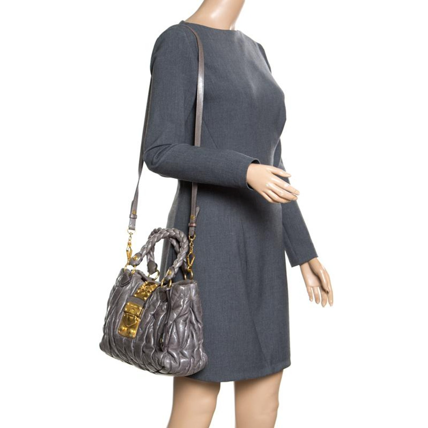 Miu Miu Grey Matelasse Leather Coffer Two Way Top Handle Bag For Sale at  1stdibs b49b0d1ed35ef