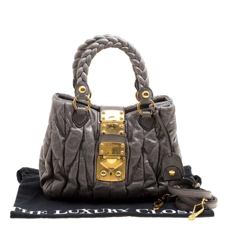 Miu Miu Grey Matelasse Leather Coffer Two Way Top Handle Bag For Sale at  1stdibs b49b0d1ed35ef