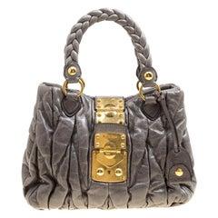 Miu Miu Grey Matelasse Leather Coffer Two Way Top Handle Bag