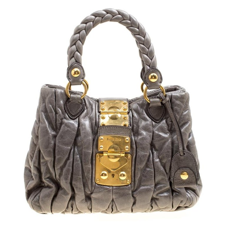 Miu Miu Grey Matelasse Leather Coffer Two Way Top Handle Bag For Sale at  1stdibs ef76485009532