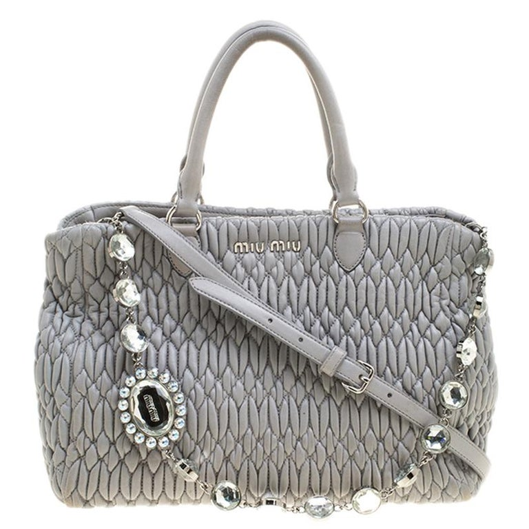 257b6cf8dc1a Miu Miu Grey Matelasse Nappa Leather Crystal Tote For Sale at 1stdibs