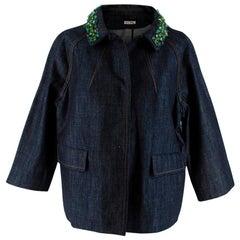 Miu Miu Indigo Denim Crystal Embellished Jacket - Size US 6