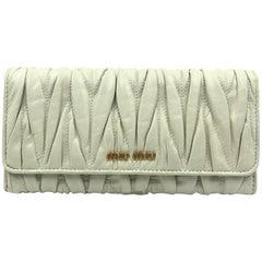 Miu Miu Ivory Matelassé Leather Wallet