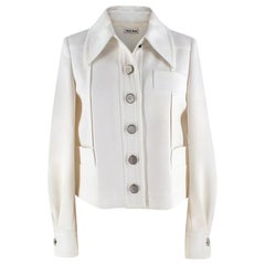 Miu Miu Ivory Tailored Jacket with Silver Buttons US4