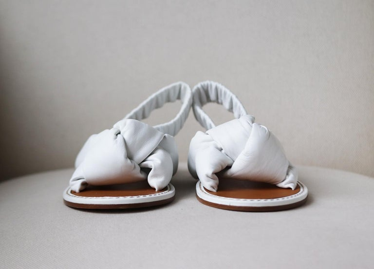 Beige Miu Miu Knotted Leather Sandals For Sale