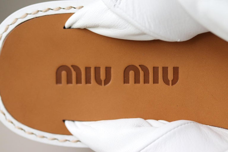 Miu Miu Knotted Leather Sandals For Sale 1