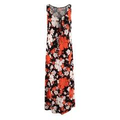 Miu Miu Lace-up Orange Floral Print Stretch-Jersey Maxi Dress - Us size 12
