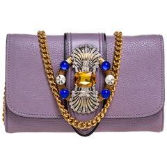 Miu Miu Lavinder Leather Crystal-Embellished Shoulder Bag