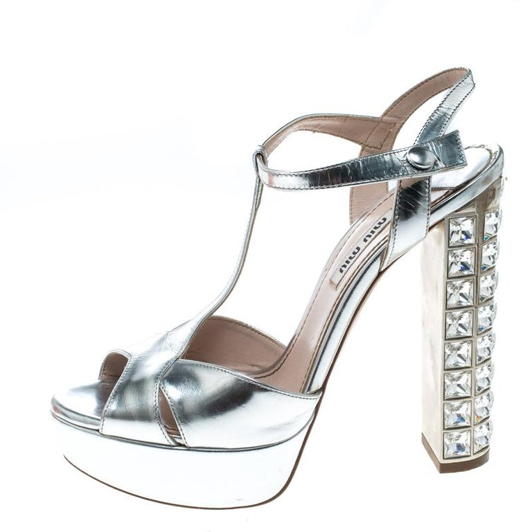 e350d21d3233 Miu Miu Leather T Strap Crystal Embellished Heel Platform Sandals Size 37.5  For Sale