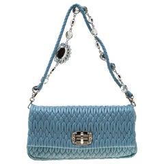 Miu Miu Light Blue Matelasse Leather Crystal Shoulder Bag