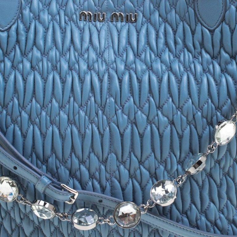 a905762f954 Miu Miu Light Blue Matelasse Leather Swarovski Crystal Tote For Sale ...