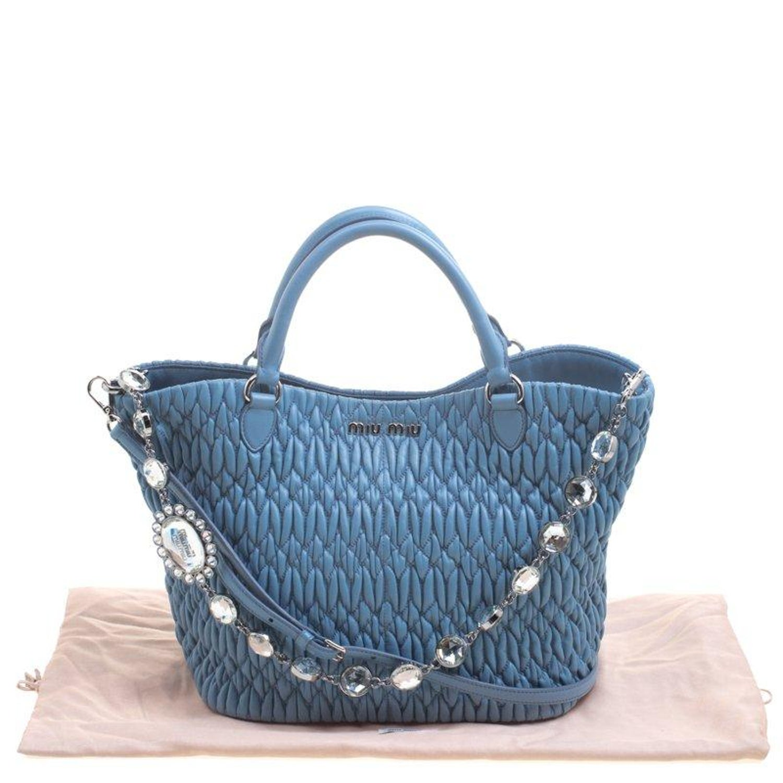 ec9fe575cd8 Miu Miu Light Blue Matelasse Leather Swarovski Crystal Tote For Sale at  1stdibs