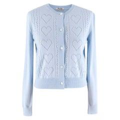 Miu Miu Light Blue Pointelle-knit Wool Cardigan - Size US 0-2