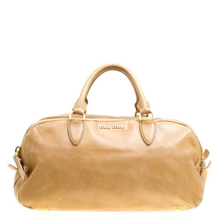 ... PursesTop Handle Bags. Miu Miu Light Brown Leather Satchel For Sale 068e0daabd25d
