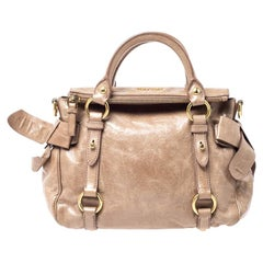 Miu Miu Light Brown Vitello Lux Leather Bow Satchel