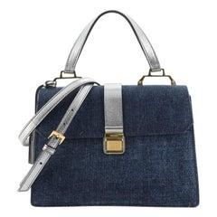 Miu Miu  Madras Convertible Compartment Top Handle Bag Denim with Leather