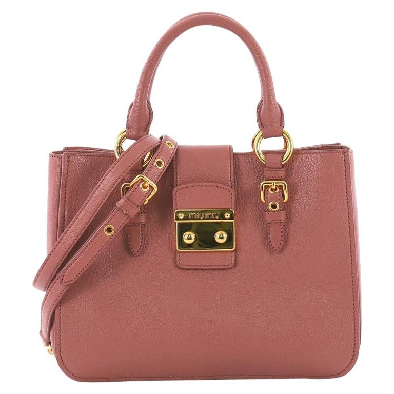 6bc5a9f3a9308b Miu Miu Madras Convertible Lock Tote Leather Small For Sale at 1stdibs