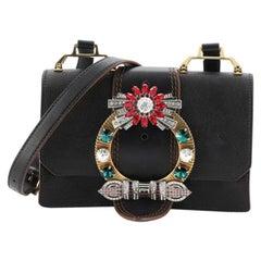 Miu Miu Madras Crystal Buckle Shoulder Bag Leather Small