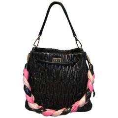 Miu Miu Matelassé Secchiello Black Leather Bucket Bag with Pink Braided Strap