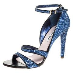 Miu Miu Metallic Blue Coarse Glitter Ankle Strap Sandals Size 38.5