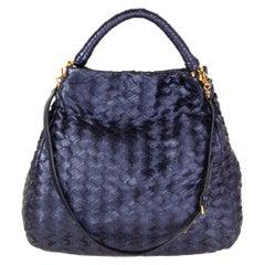 MIU MIU metallic blue leather WOVEN HOBO Shoulder Bag