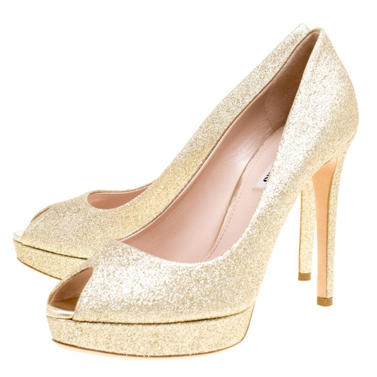 1b1d6fba34 Miu Miu Metallic Gold Glitter Peep Toe Platform Pumps Size 39.5 For Sale at  1stdibs