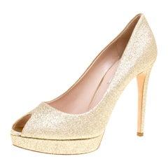 Miu Miu Metallic Gold Glitter Peep Toe Platform Pumps Size 39.5