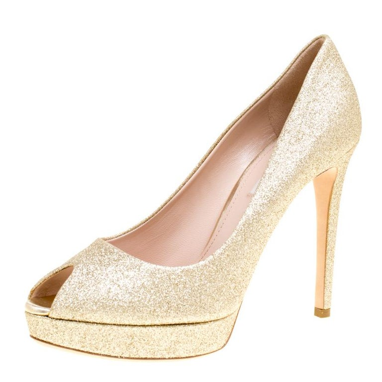 87b8d000c3 Miu Miu Metallic Gold Glitter Peep Toe Platform Pumps Size 39.5 For Sale