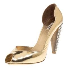 Miu Miu Metallic Gold Leather Crystal Embellished Heel D'orsay Sandals Size 37