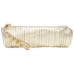 MIU MIU metallic gold pleated leather buckle strap long clutch bag wristlet
