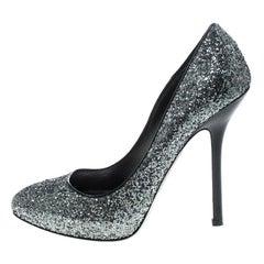 Miu Miu Metallic Silver Coarse Glitter Platform Pumps Size 39