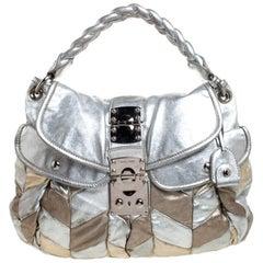 Miu Miu Metallic Silver/Gold Leather Patchwork Coffer Hobo